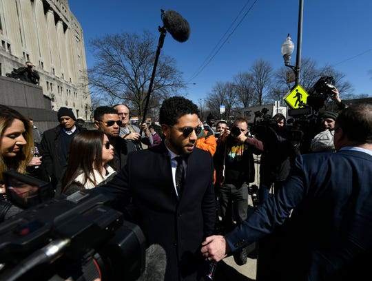 Actor Jussie Smollett leaves the Leighton Criminal Courthouse in Chicago on Tuesday, March 26, 2019, after prosecutors dropped all charges against him.