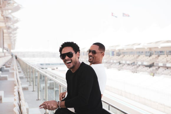 Trey Smith, left, and Will Smith in Abu Dhabi together.