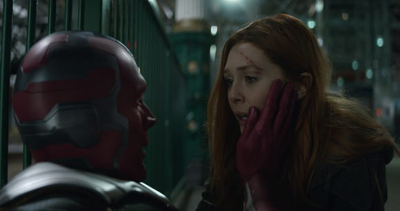 "Vision (Paul Bettany, left) and Scarlet Witch/Wanda Maximoff (Elizabeth Olsen) were casualties of ""Infinity War,"" but could they return?"