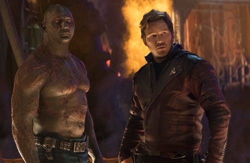 "Drax (Dave Bautista, left, with Chris Pratt) is the Guardians of the Galaxy's resident muscle - who did not end ""Infinity War"" in a good place."