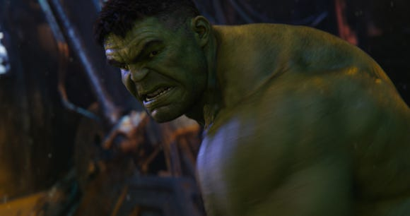 "After getting whupped in ""Infinity War,"" Hulk (Mark Ruffalo) looks for a return fight against Thanos in ""Avengers: Endgame."""