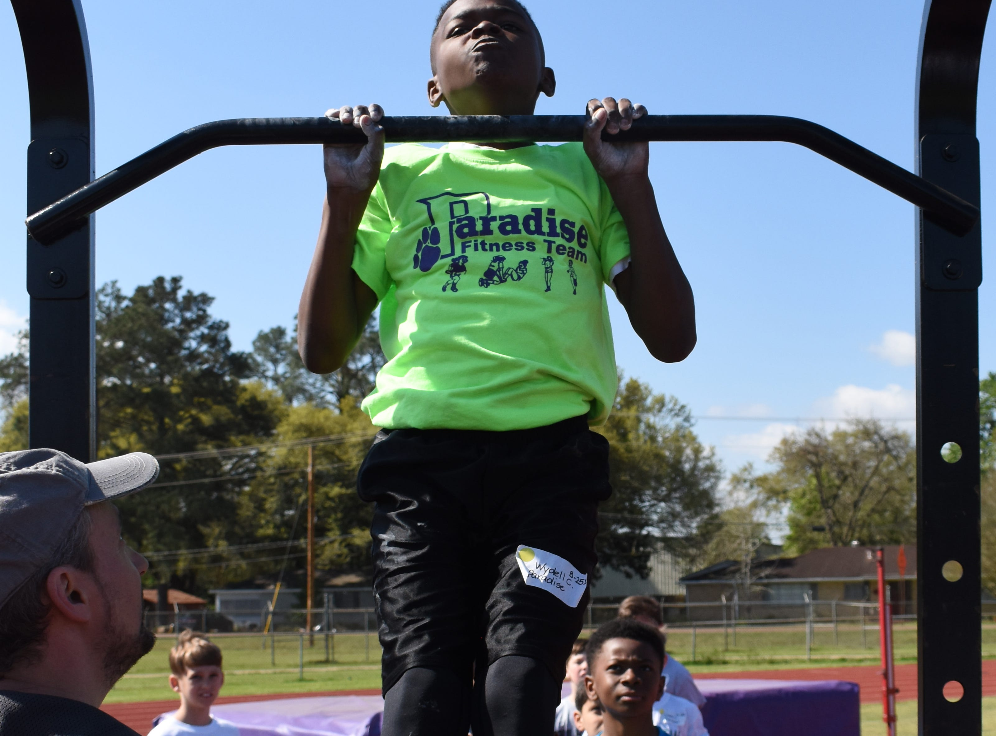 The Rapides Parish Fitness Meet was held Tuesday, March 26, 2019 at Alexandria Senior High School. About 130 students from Rapides Parish elementary schools competed in seven events: the standing long jump, sit-and-reach, pull-ups, curl-ups, shuttle run, 50-yard dash and 600-yard run. The top three schools at the fitness meet were Nachman Elementary with 2,456 points; Hayden R Lawrence Elementary with 2,270 points; and Prompt Succor with 2,068 points. The top three girls were Aubree Davis from Ball Elementary in first place; Madeline Davis of Nachman Elementary in second place; and Amari Dupar of Cherokee Elementary in third place.The top three boys were Jacob Dean in first and Jaxon Ross in second. Both are from Nachman Elementary. Bryce Warthen of Hayden R. Lawrence Elementary was in third.The parish competition is part of the Governor's Games, a six-month statewide sporting event that involves every recreation department in the state. Commissioners run Olympic-style events across the state leading up to a state championship. The three boys and three girls with the highest overall scores make up the Rapides team for the state meet which will be held April 27, 2019 at Alexandria Senior High School. The Rapides Parish Fitness Team won state last year. The top boy, Jacob Deans, and top girl, Reana Dupar, were also from Rapides Parish. They were awarded the titles of Mr. Fitness and Miss Fitness.