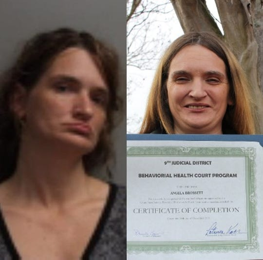 The two faces of Angela Brossett: On the left is a jail booking mugshot taken when she was homeless and addicted to drugs. On the right is Brossett after she completed the 9th Judicial District Court's Behavioral Health Court Program.