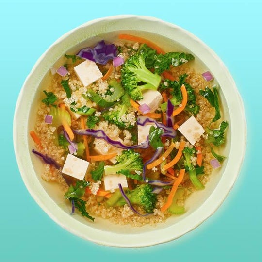 The Superfood Soup from Freshii in Middletown is made with vegetable broth, quinoa, kale, broccoli, cabbage, carrots, celery and red onions.