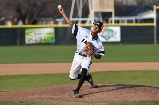 Abilene High relief pitcher Marcos Garcia (5) lets the ball go against Weatherford on March 26. The Eagles fell 3-2 in nine innings. Garcia is one of five returning players to this year's team.