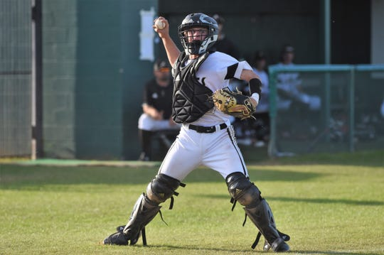 Abilene High catcher Matthew Ezzell (8) throws to first against Weatherford on Tuesday, March 26, 2019. The Eagles fell 3-2 in nine innings.