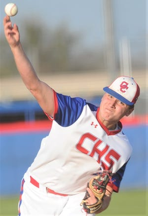 Cooper starting pitcher Braiden Hill throws a pitch to a Wichita Falls Rider batter in the sixth inning. Hill scattered five hits over six innings in the Cougars' 4-0 victory over Rider in the District 4-5A game Tuesday, March 26, 2019, at Cougar Field.