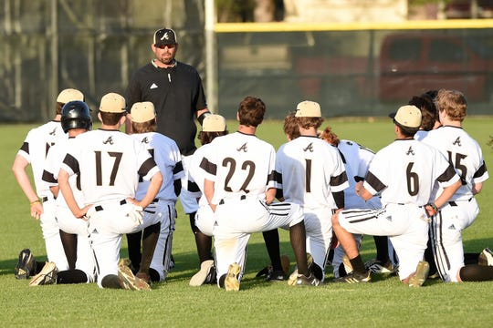 Abilene High coach Lee Fletcher talks to the Eagles after playing Weatherford on March 26. Fletcher begins his second year as the team's head coach this season.