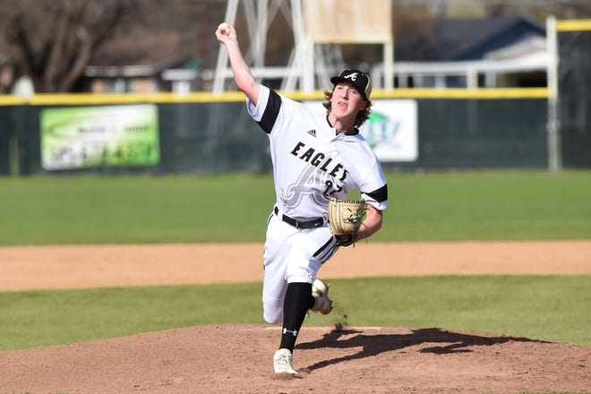 Abilene High's Ryan Johnson (27) lets go of a pitch against Weatherford on Tuesday, March 26, 2019. The Eagles fell 3-2 in nine innings.