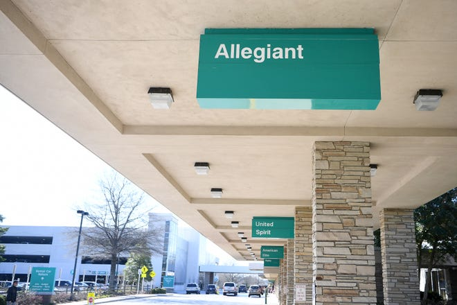 The Allegiant Airlines sign at the Asheville Regional Airport on March 27, 2019.