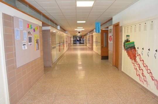 A hallway near the north entrance of The Gathering Center in Springfield. That portion of the former Springfield High School and Battle Creek Area Math and Science Center building will be leased to Calhoun Community High School beginning in the 2019-20 school year.