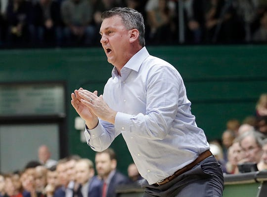 FILE - In this  Jan. 12, 2019, file photo, San Francisco head coach Kyle Smith reacts during the first half of an NCAA college basketball game against Gonzaga in San Francisco. Washington State has hired Kyle Smith as its new men's basketball coach following the disappointing tenure of Ernie Kent, a person with knowledge of the hiring said Wednesday, March 27, 2019. (AP Photo/Jeff Chiu, File)