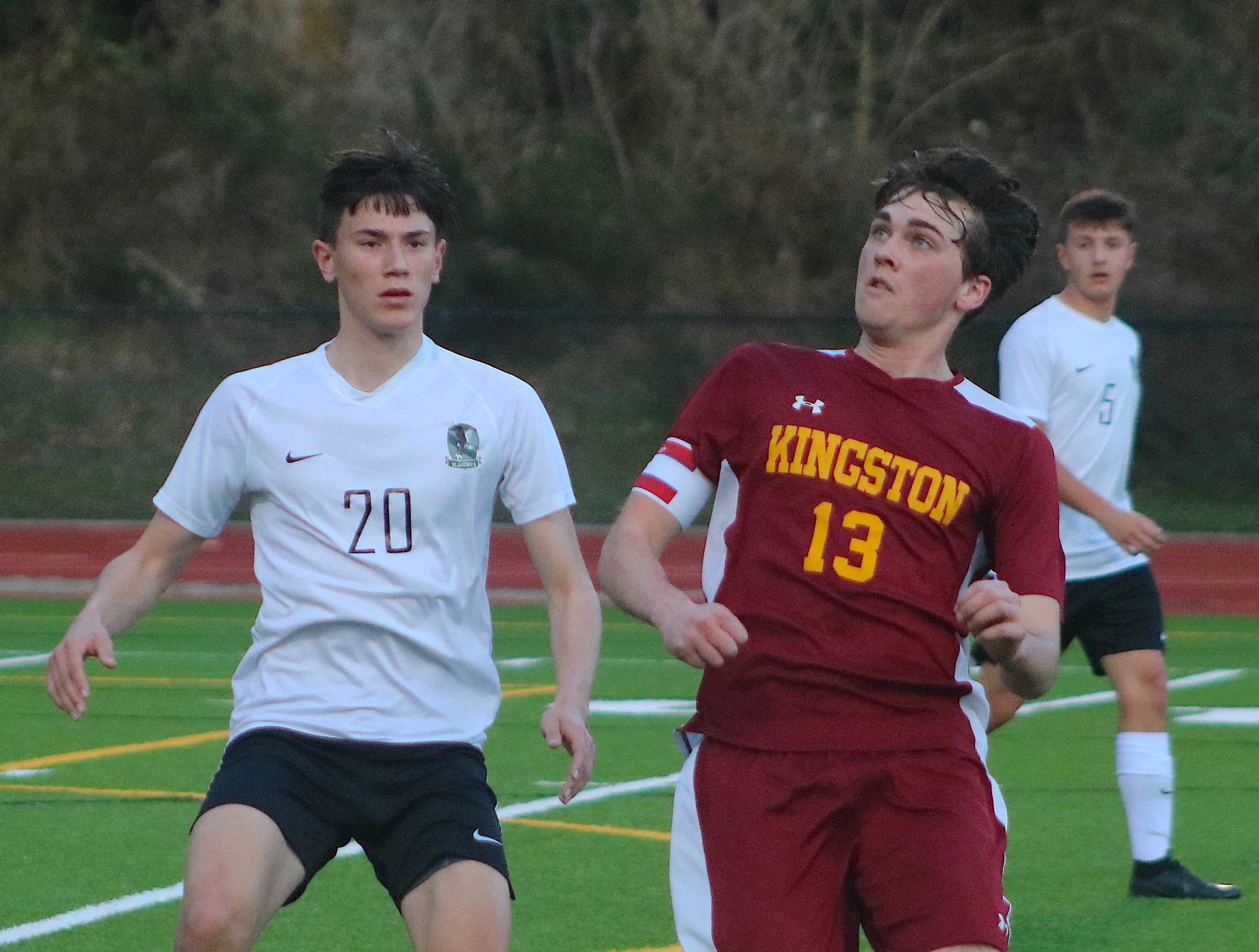 Kingston's boys soccer team defeated Klahowya 2-0 on March 26, 2019. Ben Hewett and Braydon Jacobs scored goals for the Buccaneers.