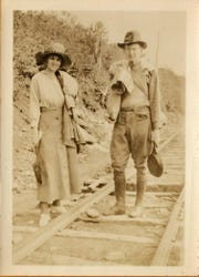 Dr. Willis D. Weatherford and his wife Julia prepare to lead hikers to Mount Mitchell in the 1920s.