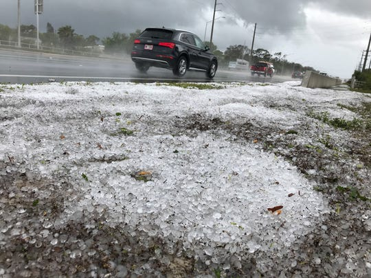 Hail remains on the ground along U.S. 1 near Horse Creek Circle  40 minutes after the storm cell dumped on Brevard, March 27, 2019.