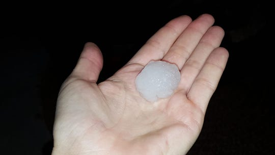 Laura Hanson shared this photo of golf-ball-sized hail from Indialantic on FLORIDA TODAY's Facebook page March 27, 2019.
