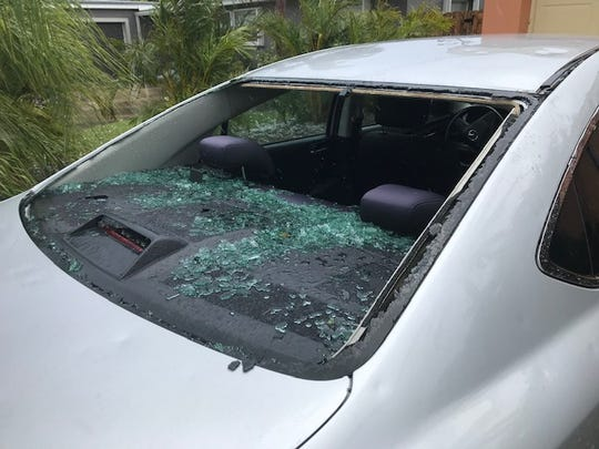 Strong storm cells dumped hail across northern Brevard County March 27, 2019, striking cars, ripping at pool enclosures at some homes and covering roadways and yards with ice in some spots.