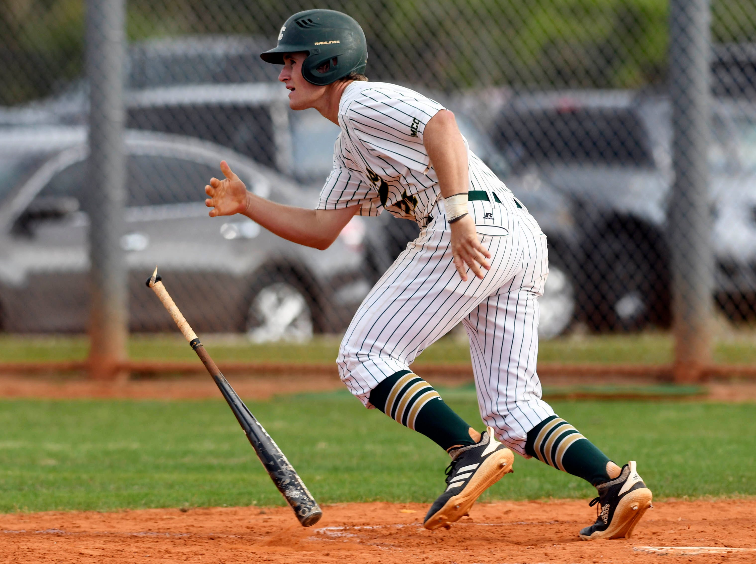 Jackson Taylor of MCC gets a hit during Tuesday's game against Satellite.