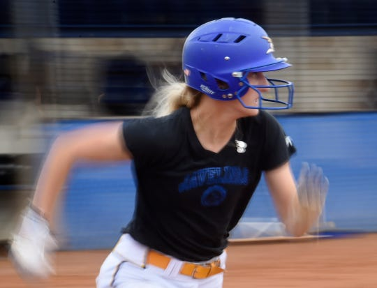 Loren Kelly runs to first base in a practice drill, Wednesday, March 20, 2019, at Kingsville. Thirty games into the season, Kelly has stolen 24 bases and is on track to break her personal record by the end of the year. So far this season Kelly has 23 runs, 33 hits and 10 RBI with a .317 average.