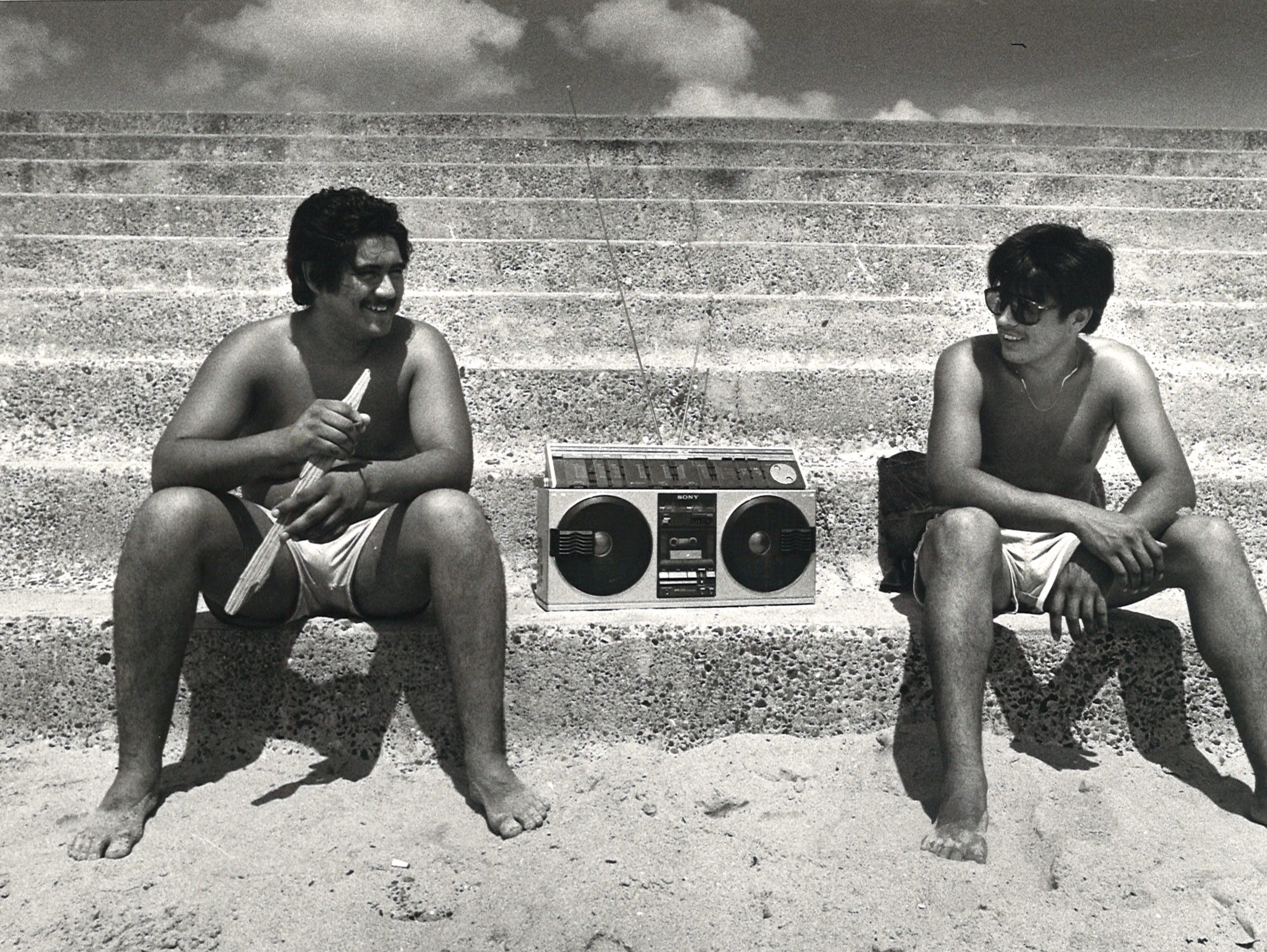 John Mancilla (left) and Felix Gonzalez (right) of San Antonio brought their boombox to McGee Beach in downtown Corpus Christi on July 11, 1982.