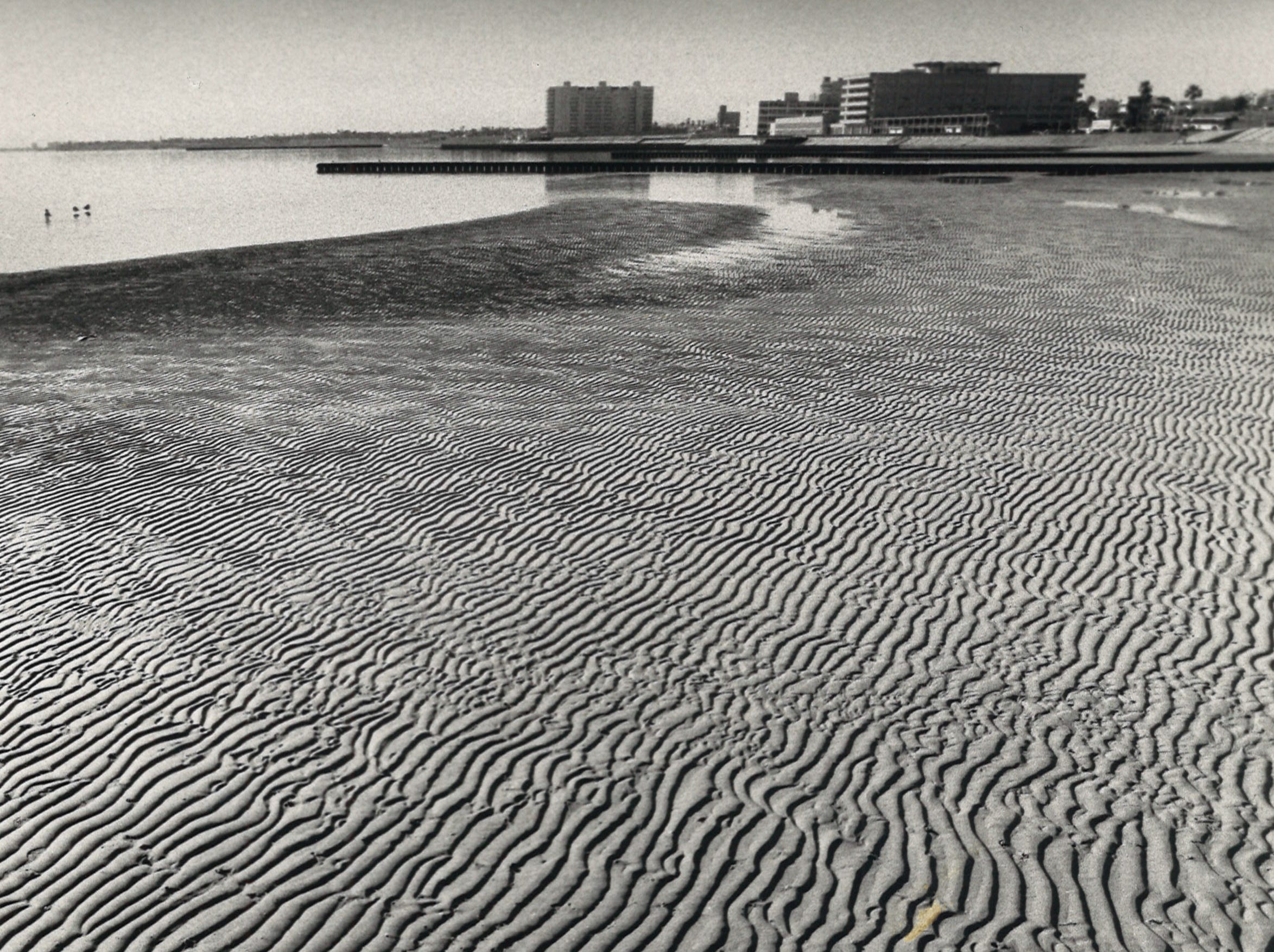 Low tide left rippled sand in its wake on McGee Beach in downtown Corpus Christi on Feb. 12, 1985.