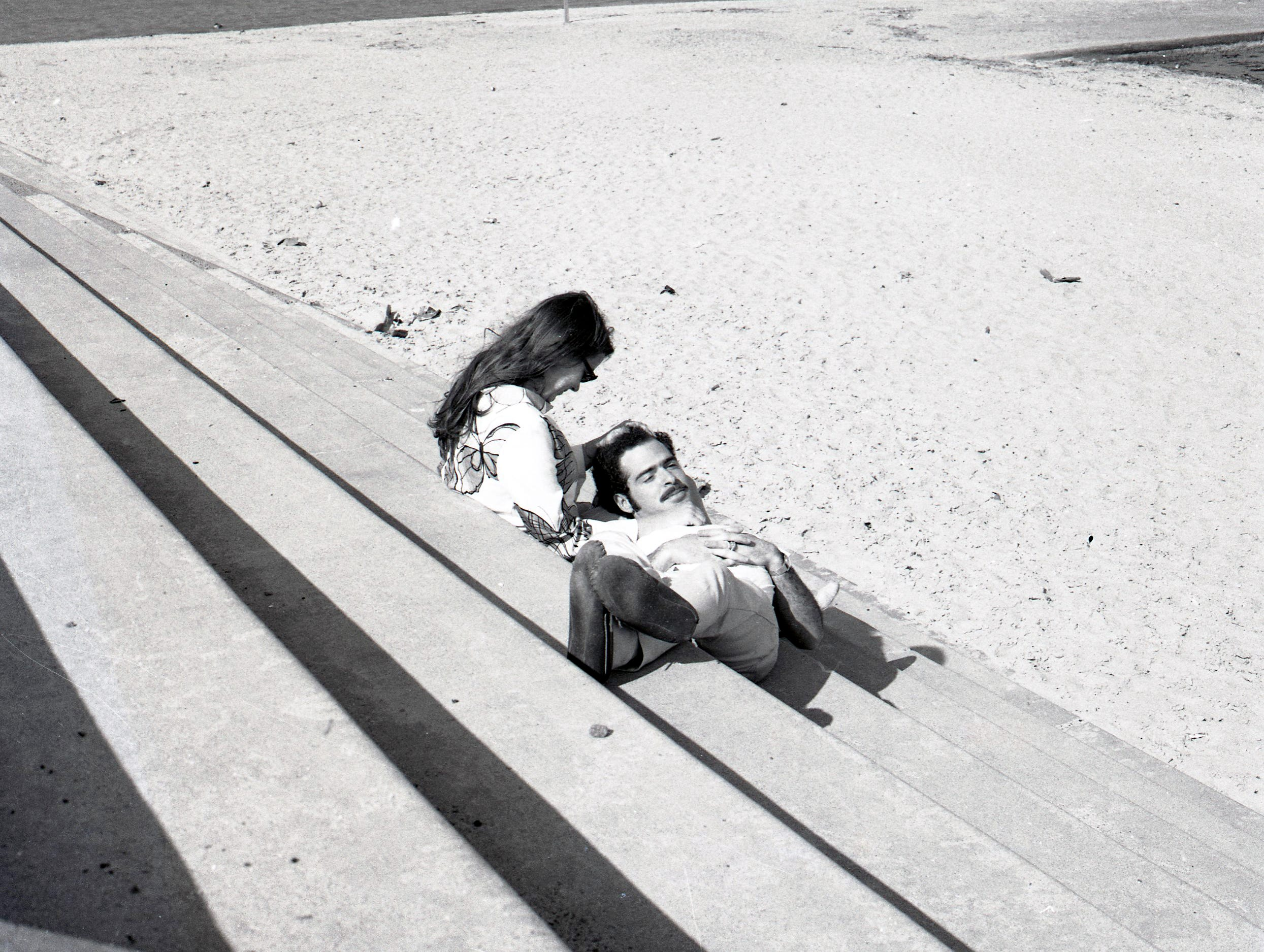 A canoodling couple on the seawall at McGee Beach in downtown Corpus Christi on March 30, 1969.