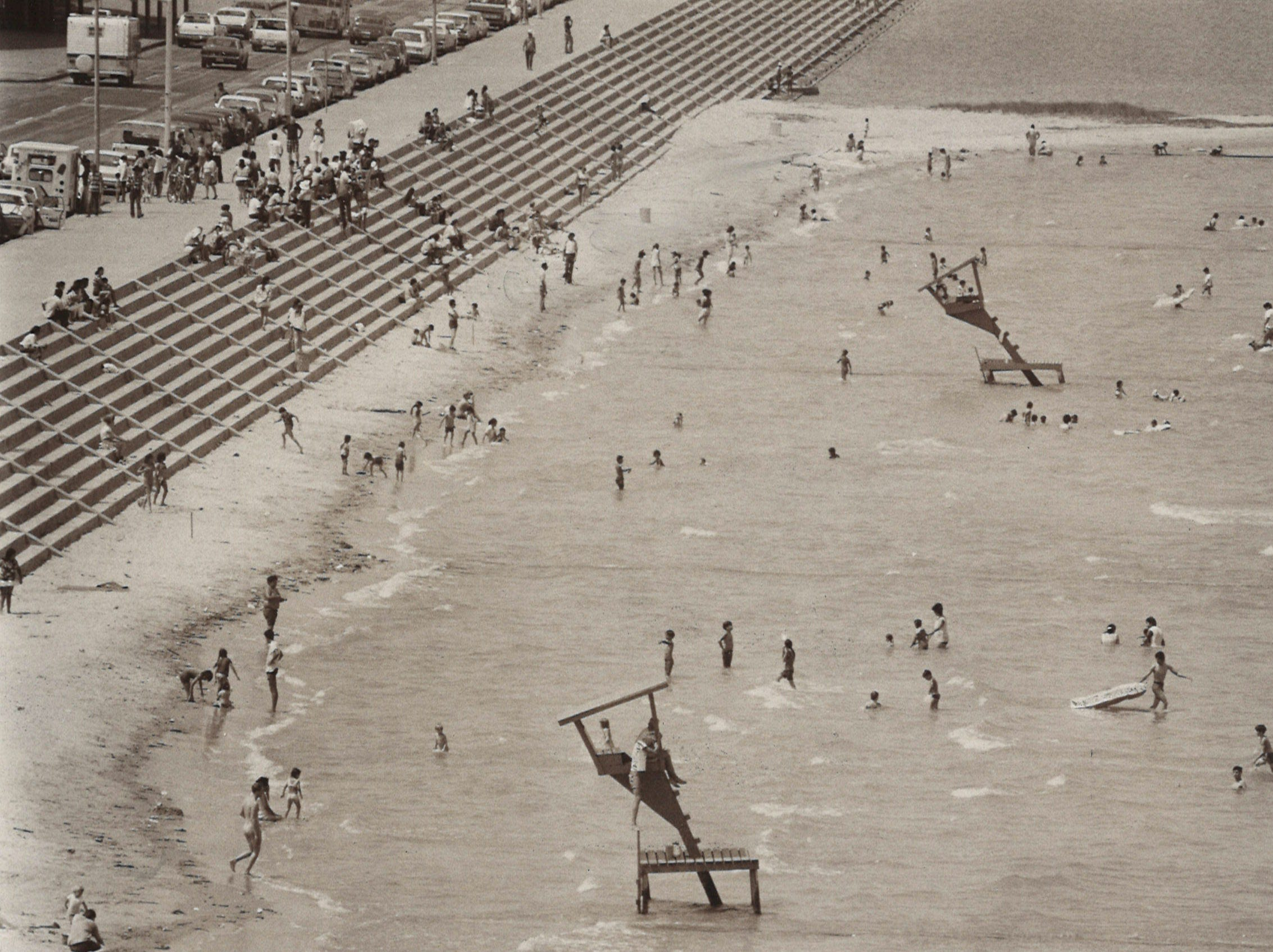 Crowds at McGee Beach in downtown Corpus Christi  in June 1974.
