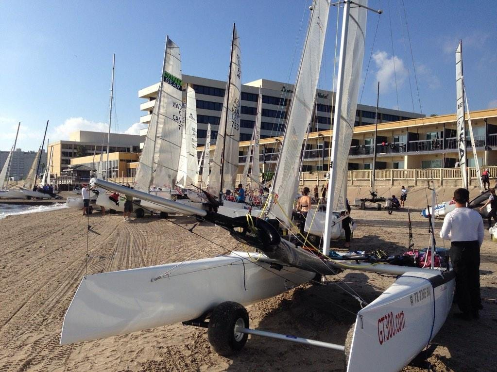 Crews prepare for the 2014 U.S. F18 National Championship Regatta on McGee Beach in downtown Corpus Christi in October 2014.