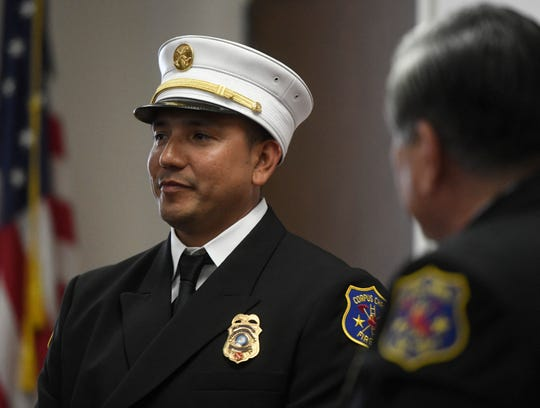 "Tony Perez receives Corpus Christi firefighter of the year, Wednesday, March 27, 2019. Perez was honored at the Houston Livestock and Rodeo for his service. ""It's not what we do, it's who we are,"" Perez says."