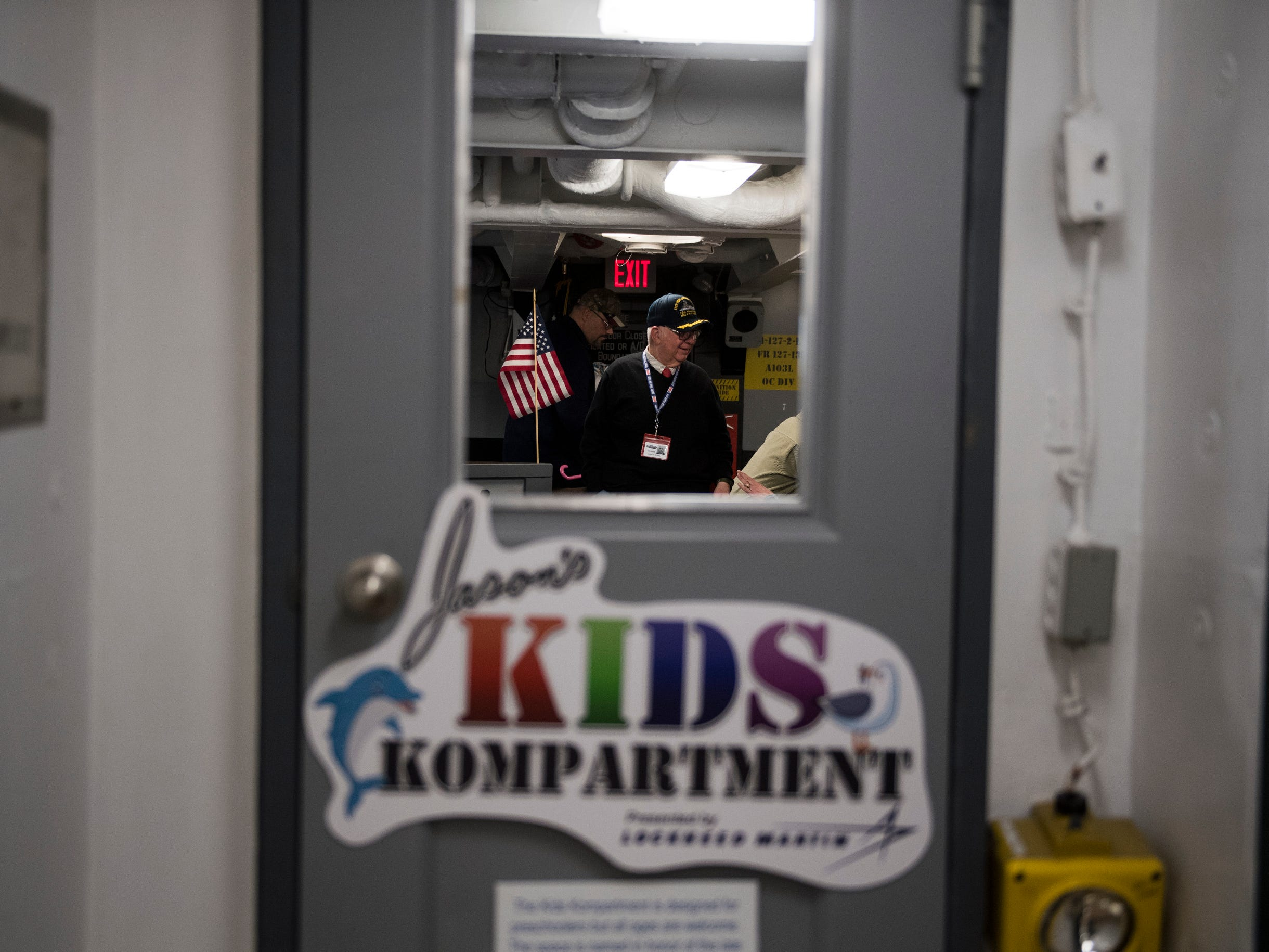 The entrance to Jason's Kids Kompartment Thursday, March 21, 2019 aboard the USS New Jersey battleship in Camden, N.J.