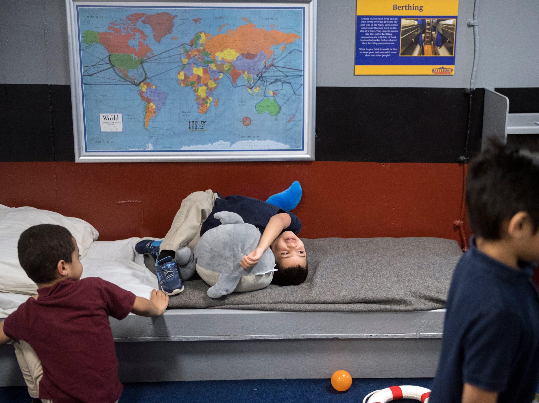 Children play at Jason's Kids Kompartment Thursday, March 21, 2019 aboard the USS New Jersey battleship in Camden, N.J.