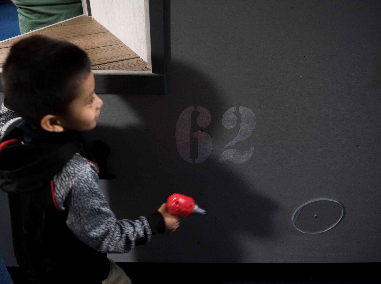 Edward Tellez, plays inside Jason's Kids Kompartment Thursday, March 21, 2019 aboard the USS New Jersey battleship in Camden, N.J.