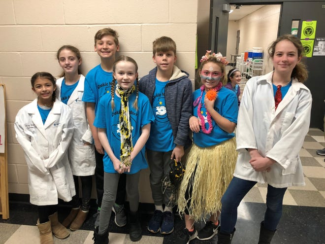 Students from Terrace Park Elementary School (Team Trouble Makers and Team Hurricane Helpers) and Mariemont Elementary School (Team Cookie MonStars) during the regional Destination Imagination competition. All will compete in the state tournament on March 30.