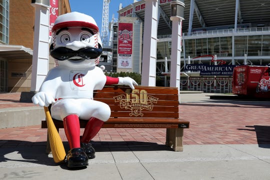 Commemorative benches celebrating the team's 150th anniversary will be around the city, Wednesday, March 27, 2019, at Great American Ball Park in Cincinnati.