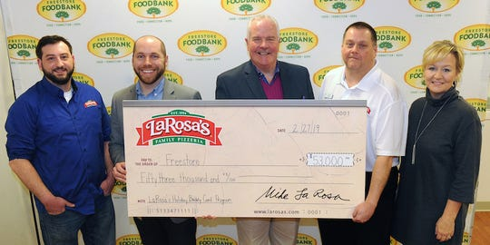 Left to right: Jeff Hauser, general manager at LaRosa's Loveland; Matthew Gellin, corporate relations officer at Freestore Foodbank; Kurt Reiber, president and CEO at Freestore Foodbank; Kevin Bullock, general manager at LaRosa's Greendale; Trisha Rayner, vice president of external affairs at Freestore Foodbank.