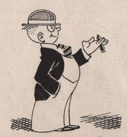 Danny Dumm cartoon character, the alter ego of Enquirer sports cartoonist Harold E. Russell.
