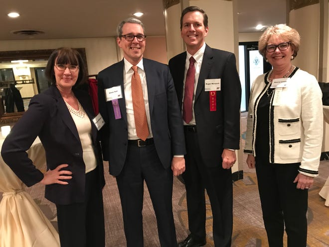Prevent Blindness and AK Steel honored Frost Brown Todd LLC and Adam Hall, CEO, at the 2019 People of Vision Award Dinner. Left to right: Sherry Williams, Adam Hall, Roger Newport, Sherry Lewis.