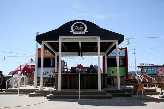 A new, shaded bar, Walt's Hitching Post Outpost Bar, has been built in the fan zone, Wednesday, March 27, 2019, at Great American Ball Park in Cincinnati.