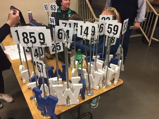 table numbers at the St. William fish fry in Price Hill
