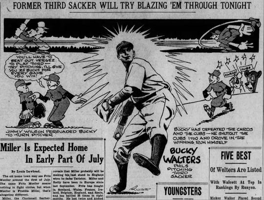 Harold E. Russell cartoon on Reds pitcher Bucky Walters for May 24, 1935, the first night game in Major League Baseball history.