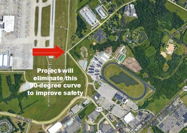 Turfway Road will be straightened near the DHL hub and Turfway Park. The project will be completed in August.