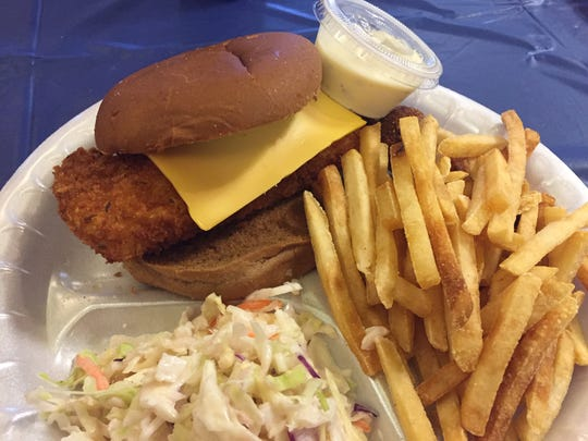 The Magnificod sandwich platter at St. William fish fry in Price Hill