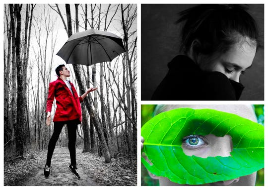 """Thai Branowski was his own model for """"Into the Woods,"""" the photo (left) that won grand prize in the New Jersey Youth Photography Competition. At top right is Alena Graziani's """"Self Portrait"""" and below that is Skye Bundt's """"Nature's Eye."""""""