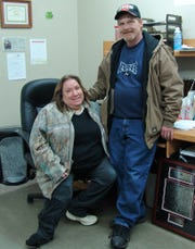 Candy and Tim Angle at the Coshocton County Handicapped Society, where the two have volunteered for many years.