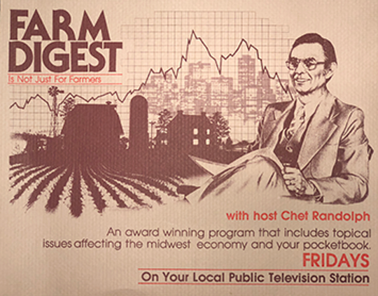 "Art for ""Farm Digest,"" the Iowa Public Television program that would become ""Market to Market."""