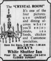 An advertisement for Rocky's White Shutter Inn, a fine-dining restaurant from Des Moines, published in the Des Moines Register in October, 1963.