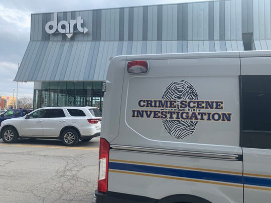 The Des Moines police Crime Scene Investigation unit was on the scene Wednesday, March 27, 2019, at the DART Central Station in downtown Des Moines.