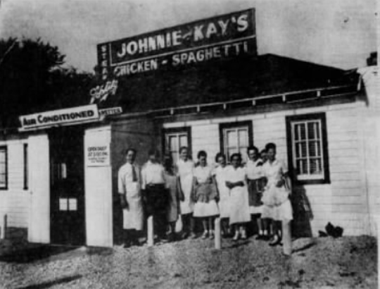 Johnny and Kay Compiano stand outside of their iconic restaurant in 1946.