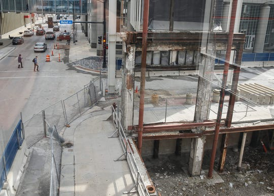 Construction continues at the site of the former Younkers building in Des Moines, which burned down five years ago on March 29, 2014.
