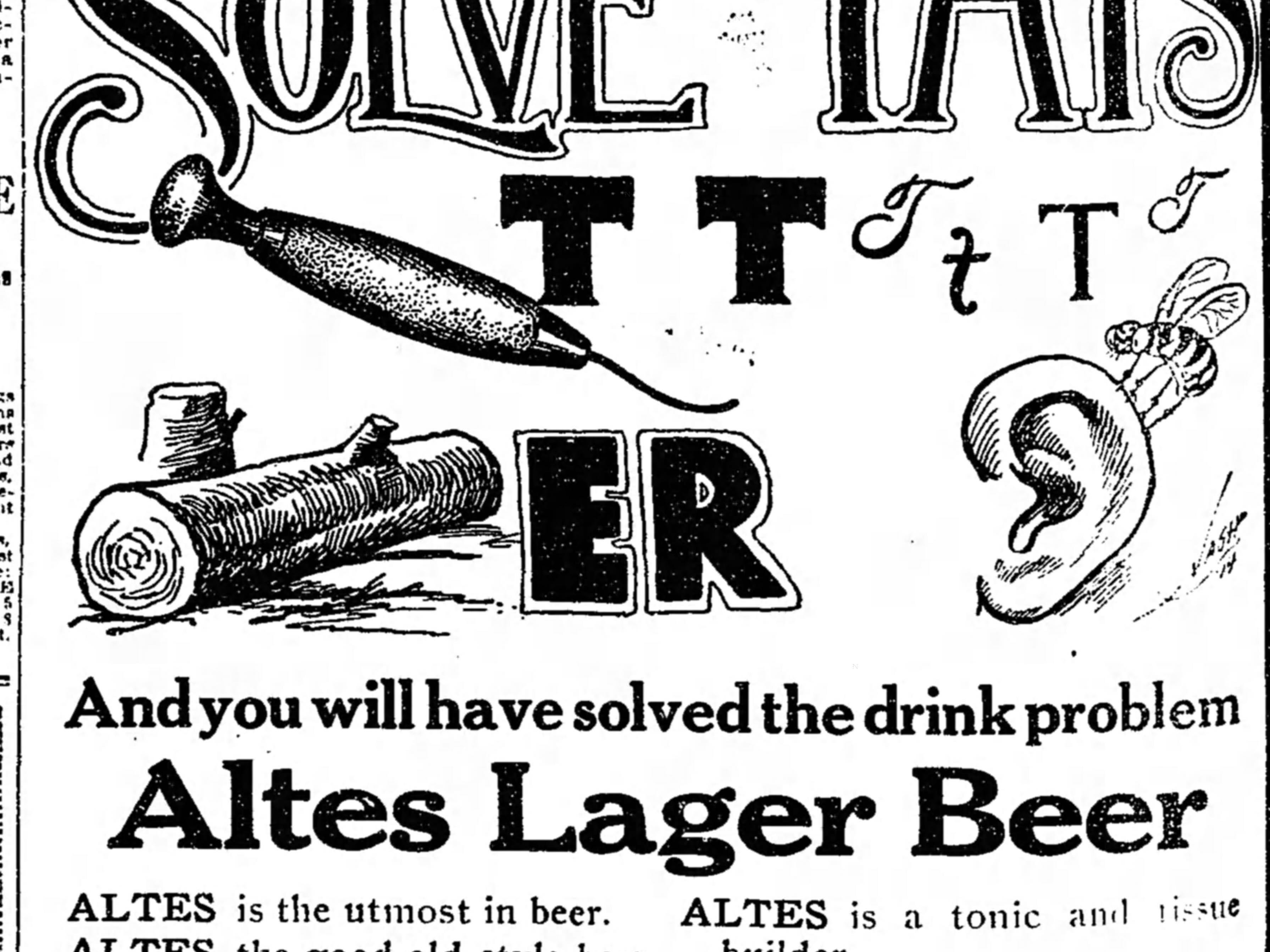 An ad for Altes Lager published in the Free Press on May 14, 1914.